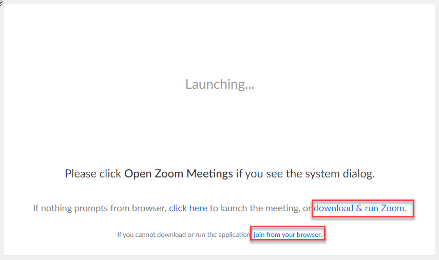 Launching Zoom and selecting to install Zoom