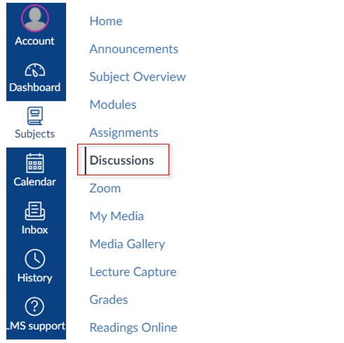 The Discussions heading in the subject navigation menu