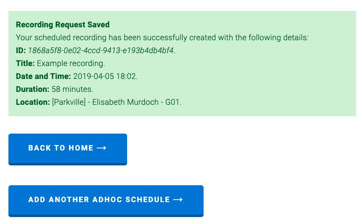 schedule confirmation