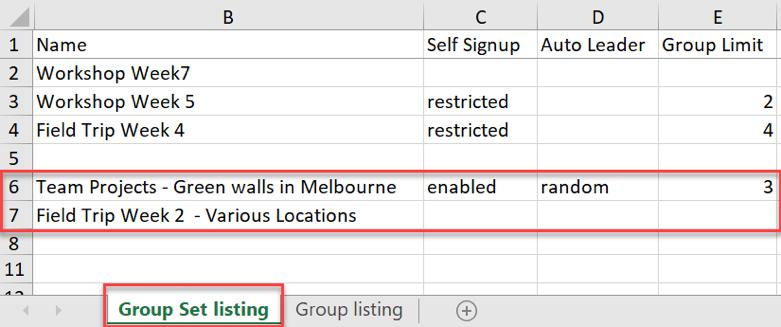 Group Set listing Excel file updates