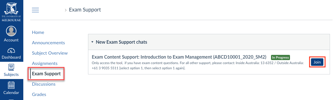 Click Join to access Exam Support