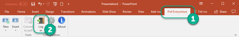 Log in to Poll Everywhere in PowerPoint (Windows view)