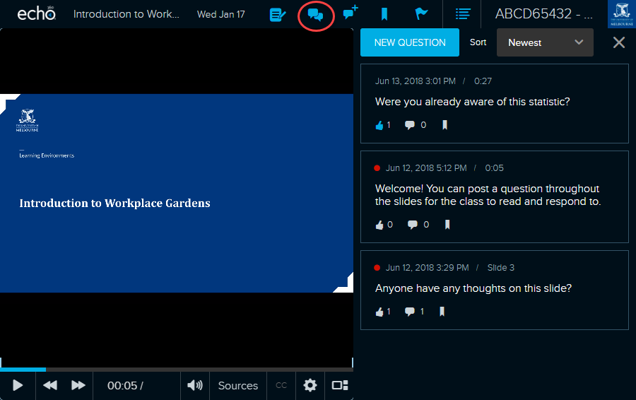 Click on the Discussions icon during playback