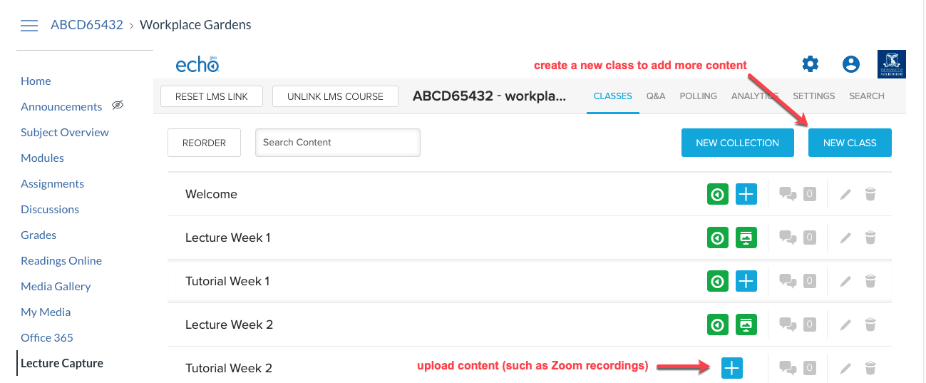 Create a new class to upload additional content