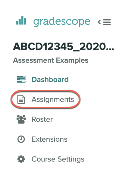 Assignments in the Gradescope course menu